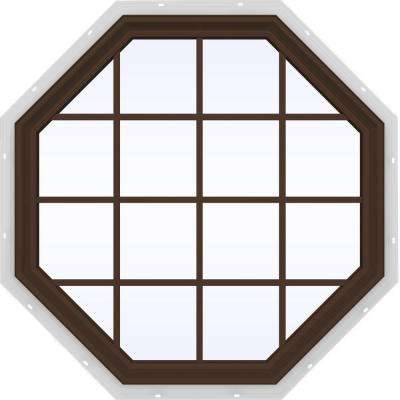 47.5 in. x 47.5 in. V-2500 Series Fixed Octagon Geometric Vinyl Window with Grids in Brown
