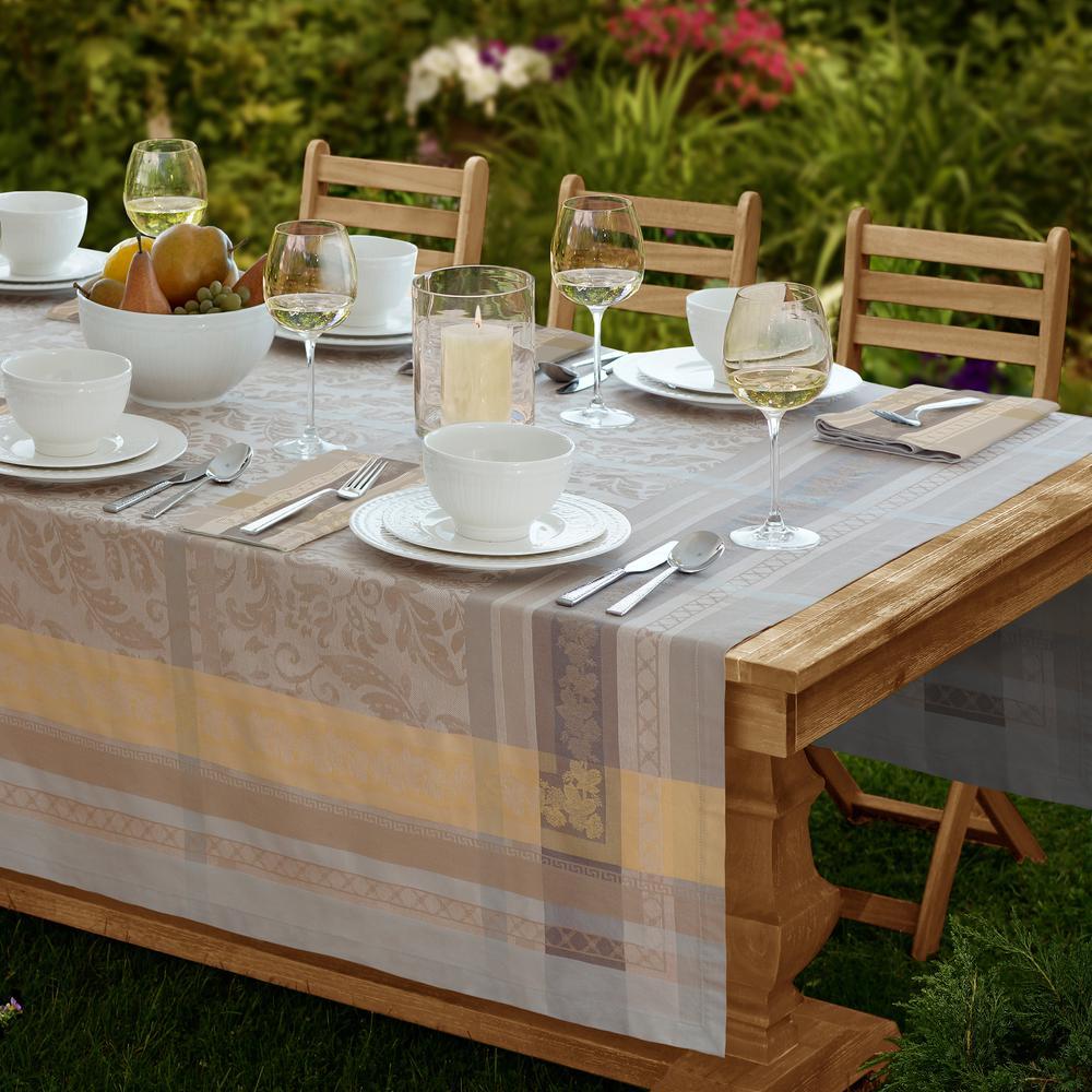 Promenade 63 in. W x 96 in. L in Gray/Gold Jacquard Fabric Tablecloth