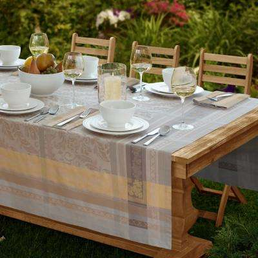 Promenade 63 in. W x 126 in. L in Gray/Gold Jacquard Fabric Tablecloth