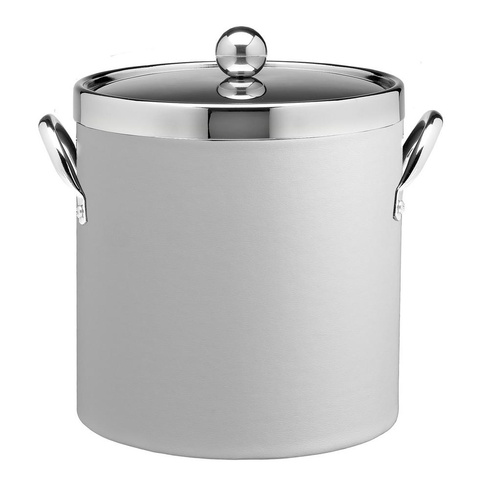 Contempo 3 Qt. White Ice Bucket with Chrome Lid and Side