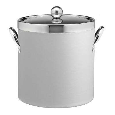 Contempo 3 Qt. White Ice Bucket with Chrome Lid and Side Handles