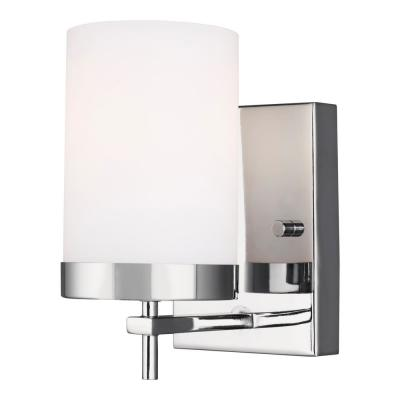Zire 4.375 in. W 1-Light Chrome Vanity Light with Etched White Glass Shade with LED Bulb
