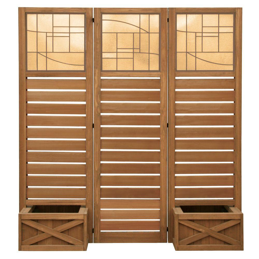 Yardistry 62 in. x 18 in. Garden Screen with Planters