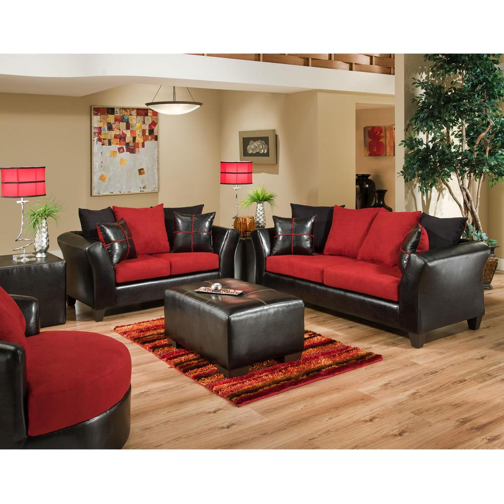 Flash Furniture Riverstone Victory Lane 2 Piece Cardinal Microfiber Black Red Living Room Set
