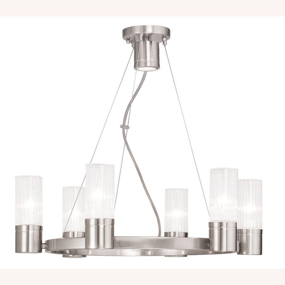Midtown 6-Light Chrome Chandelier with Hand Crafted Clear Fluted Glass Shade