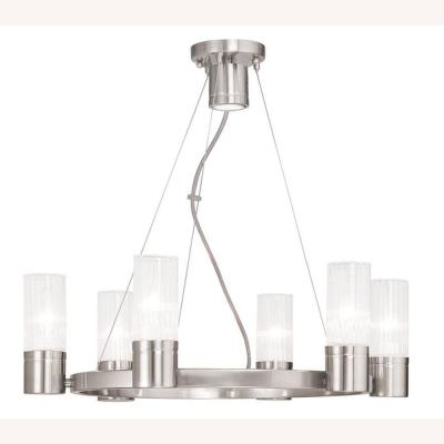 Midtown 7-Light Chrome Chandelier with Hand Crafted Clear Fluted Glass Shade