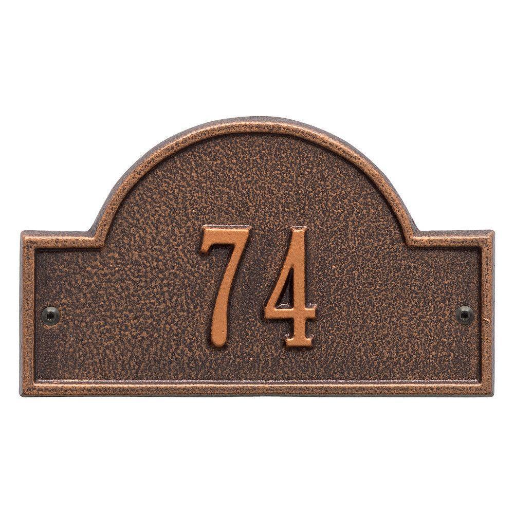 Arch Marker Petite Antique Copper Wall 1-Line Address Plaque