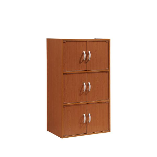 HODEDAH 3-Shelf, 41 in. H Cherry Bookcase with Double Doors HID33