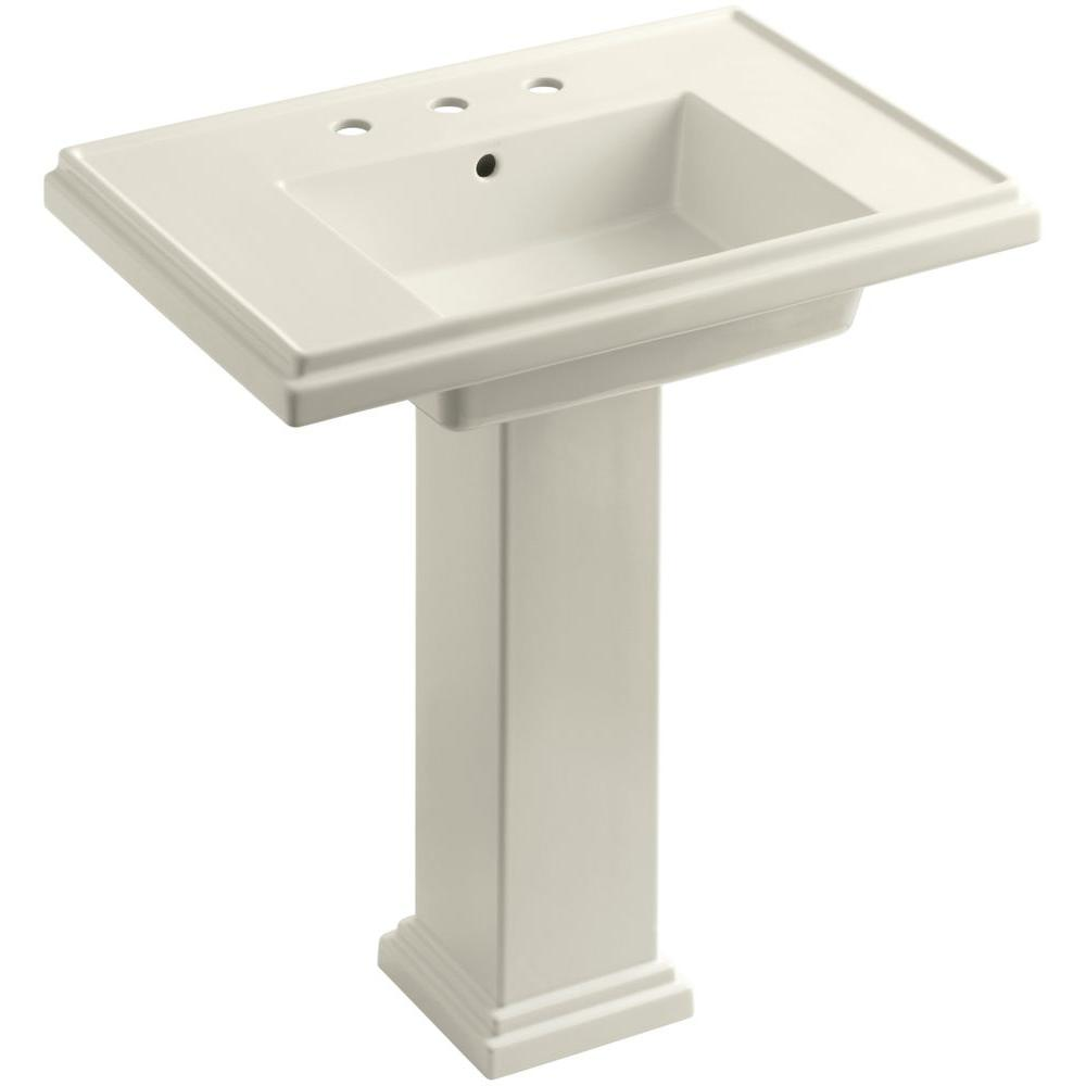 Tresham Ceramic Pedestal Combo Bathroom Sink with 8 in. Centers in