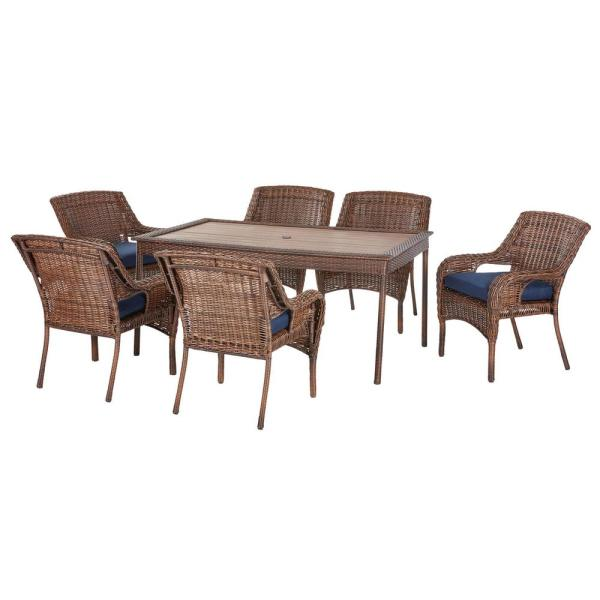 Hampton Bay Cambridge 7 Piece Brown Wicker Outdoor Patio Dining Set With Cushionguard Midnight Navy Blue Cushions 65 7148b7 The Home Depot