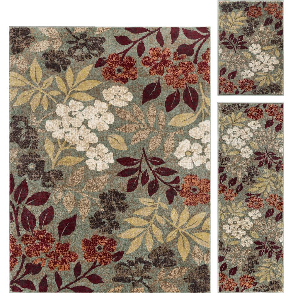 Tayse Rugs Deco Seafoam 5 Ft X 7 Ft Floral 3 Piece Rug