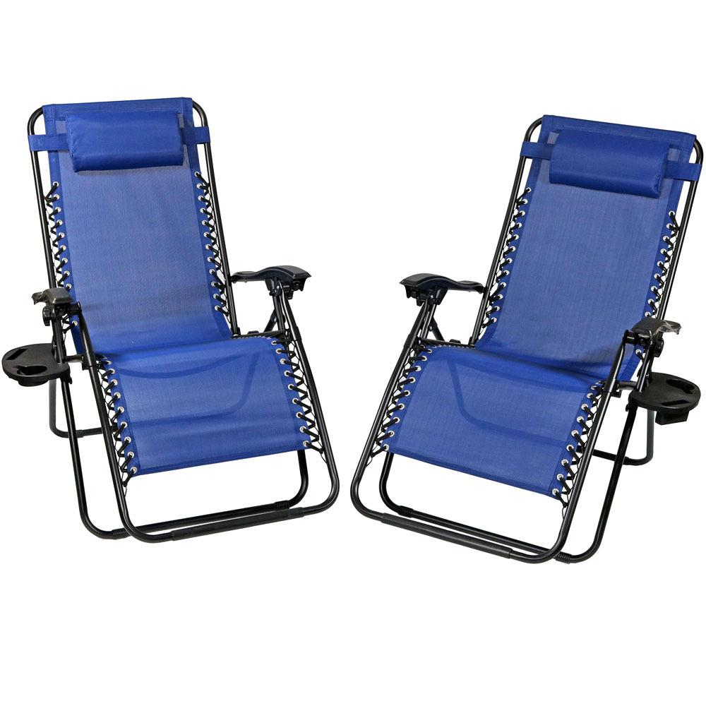 Superb Sunnydaze Decor Oversized Navy Blue Zero Gravity Sling Patio Lounge Chair With Cupholder 2 Pack Ocoug Best Dining Table And Chair Ideas Images Ocougorg