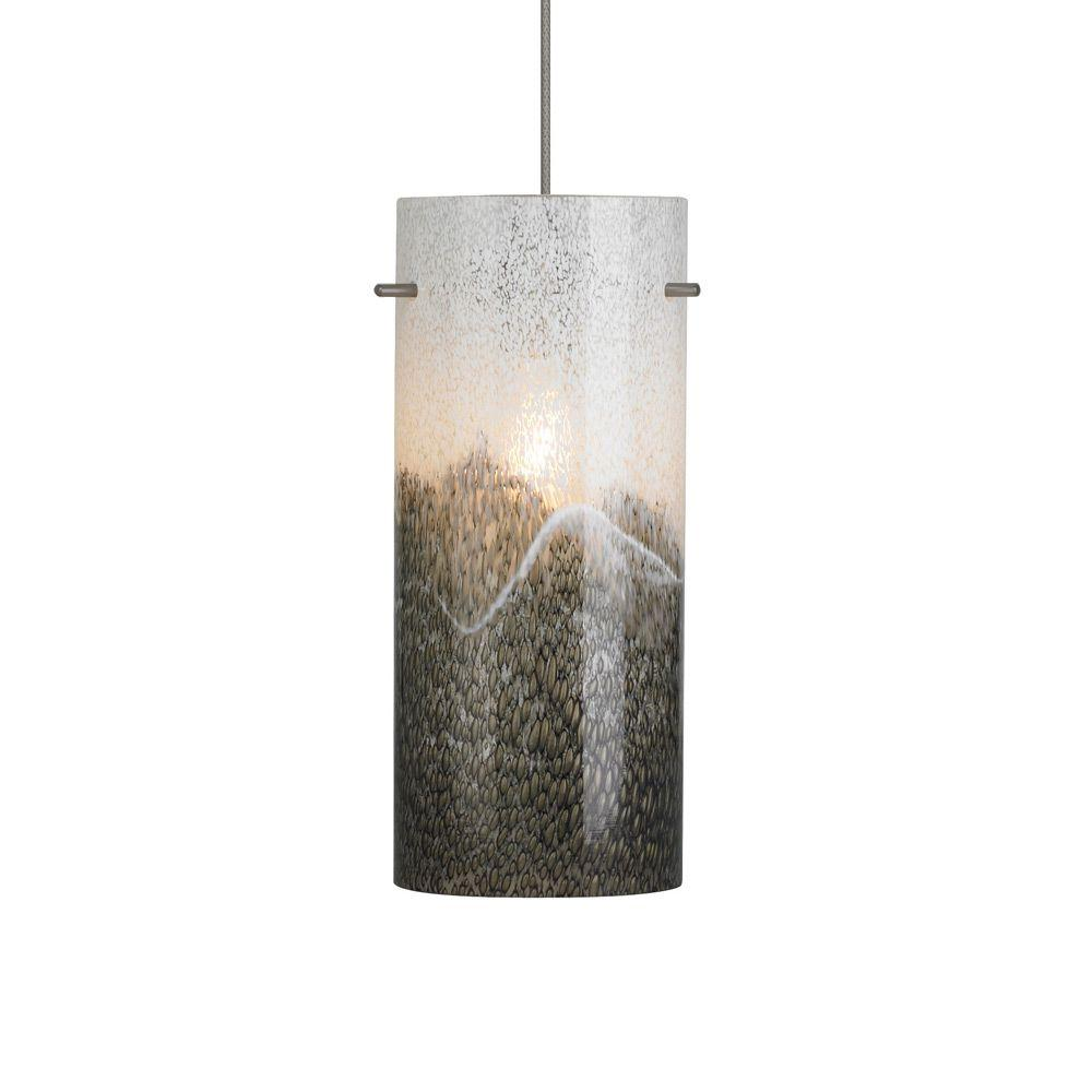 Mini-Dahling 1-Light Bronze LED Mini Pendant with Gray-Opal Shade