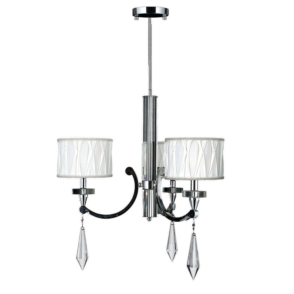 Cutlass Collection 3-Light Chrome Clear Crystal Chandelier with Fabric Shade