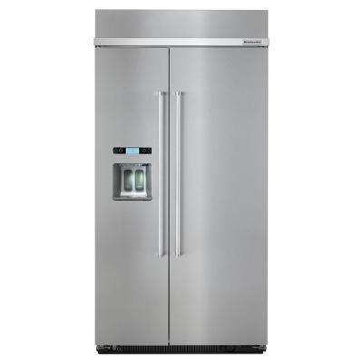 42 in. W 25 cu. ft. Built-In Side by Side Refrigerator in Stainless Steel