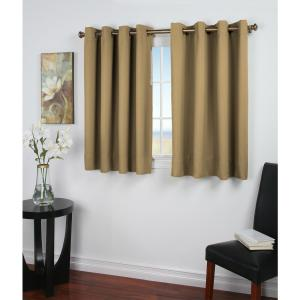 Ultimate Blackout 56 in. W x 54 in. L Polyester Blackout Window Panel in Sand