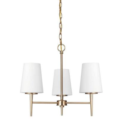 Driscoll 3-Light Satin Bronze Chandelier with Inside White Painted Etched Glass