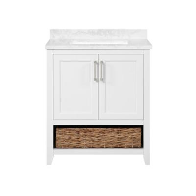 Newhall 30 in. W x 22 in. D Bath Vanity in White with Cultured Marble Vanity Top in White with White Basin