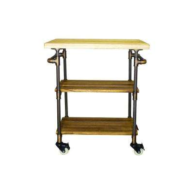 Hoboken Farmhouse, Brown 3-Tier Kitchen Bar Cart/Island Lockable Wheels Cutting Board/Butcher-Metal-Reclaimed