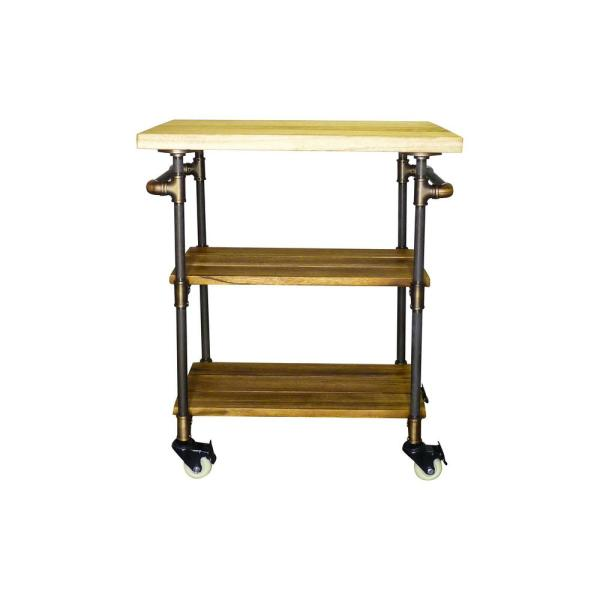 Furniture Pipeline Hoboken Farmhouse, Brown 3 Tier Kitchen Bar Cart/Island  Lockable Wheels