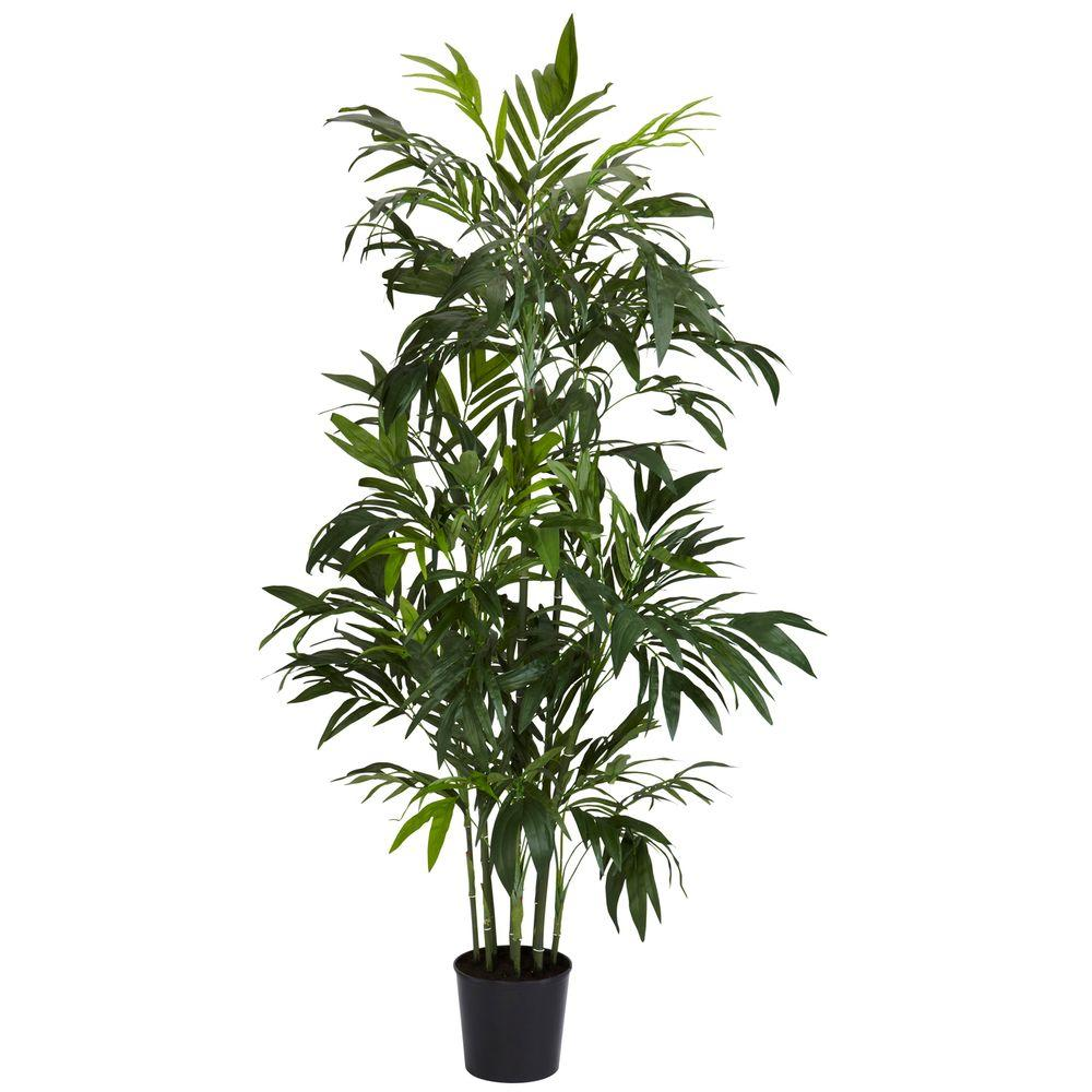 Nearly Natural 6 ft. Green Bamboo Palm Silk Tree