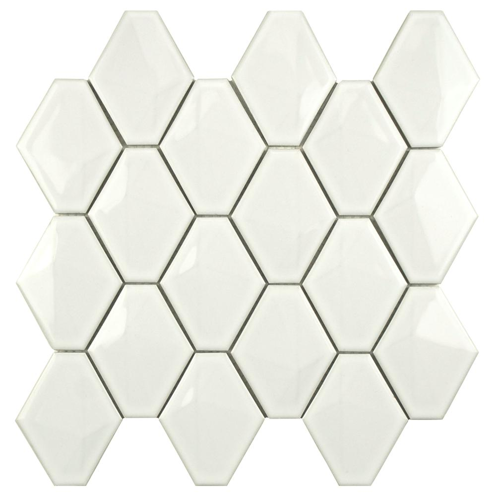 Merola Tile Prism Glossy White 10-1/2 in. x 11 in. x 8mm Porcelain Mosaic Tile