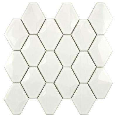 Prism Glossy White 10-1/2 in. x 11 in. x 8mm Porcelain Mosaic Tile
