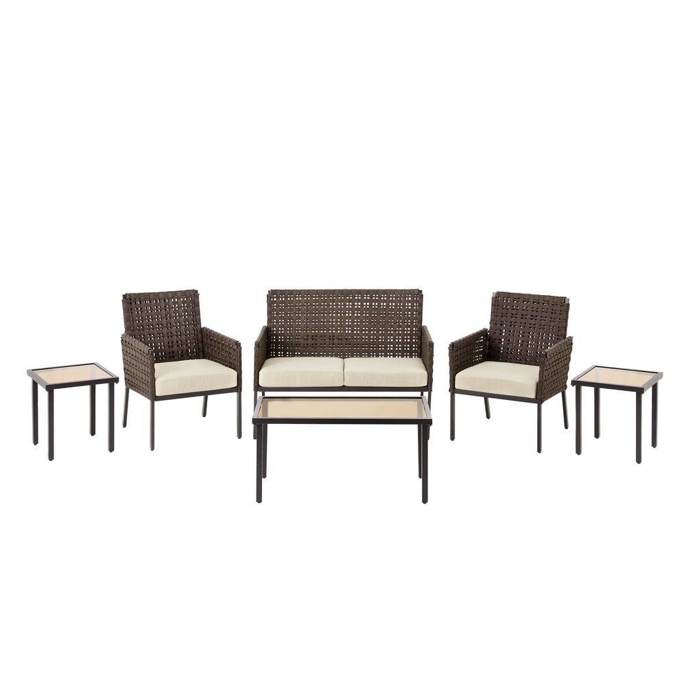 Park Lane 6-Piece Wicker Outdoor Patio Conversation Set with Olefin Tan Cushions
