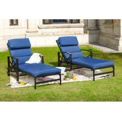 2-Piece Metal Outdoor Chaise Lounge with Blue Cushions