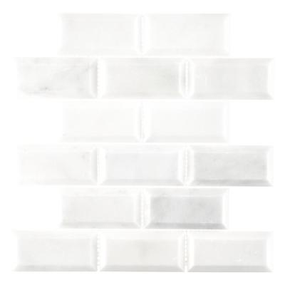 Carrara White Beveled 12 in. x 12 in. x 10 mm Interlocking Polished Marble Mosaic Tile