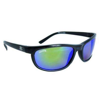 Black Frame Rockpile Sunglasses with Mirror Lenses in Green