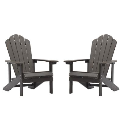 Coffee Brown Reclining Wood Adirondack Chair (Set of 2)