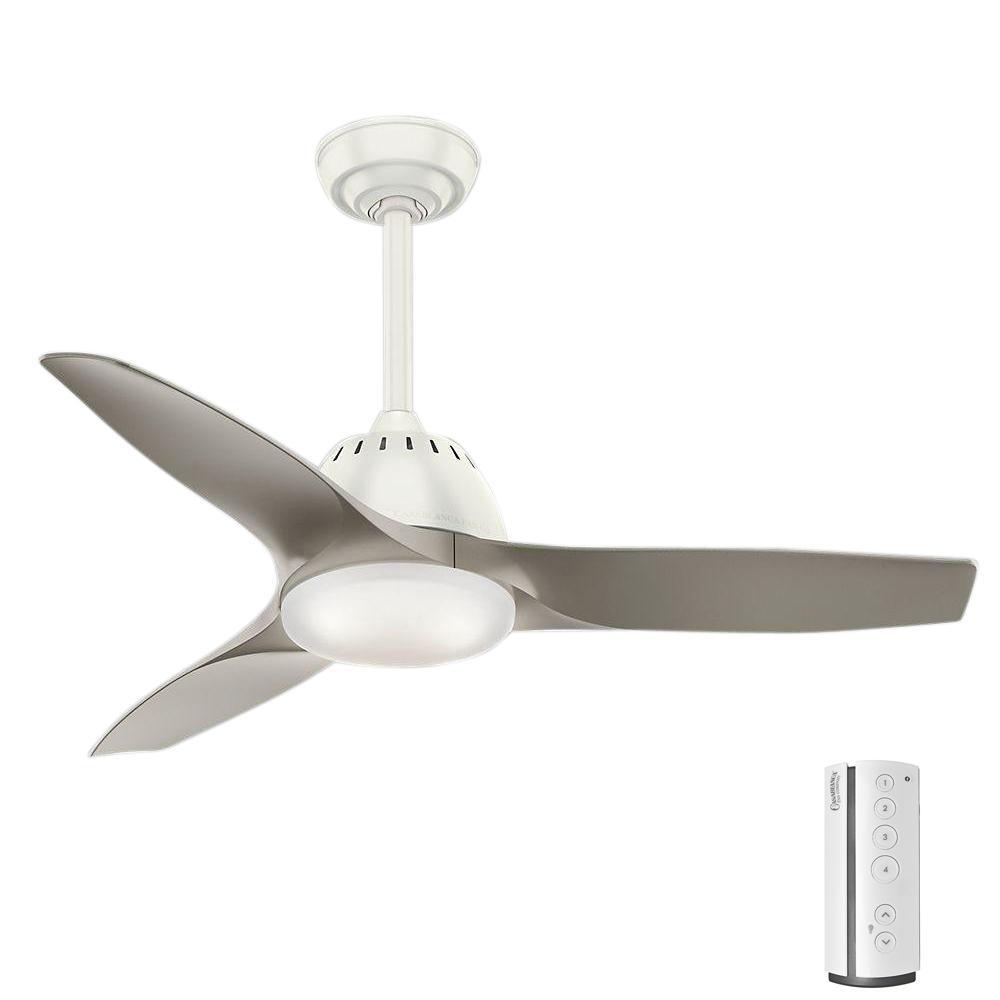 Casablanca ceiling fans lighting the home depot led indoor fresh white ceiling fan aloadofball Images