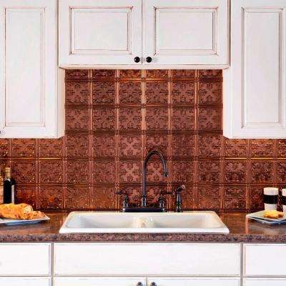 24 in. x 18 in. Traditional 10 PVC Decorative Backsplash Panel in Oil Rubbed Bronze