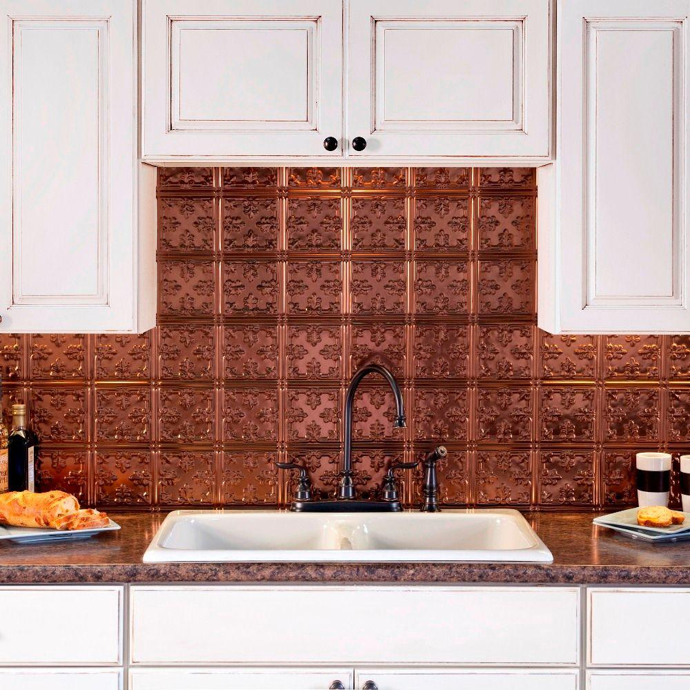 Fasade 24 in x 18 in traditional 10 pvc decorative backsplash panel in oil rubbed bronze b57 - Kitchen backsplash panel ...