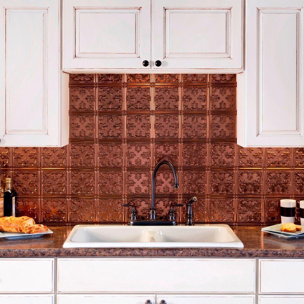 25 in. x 18 in. Traditional Style # 10 PVC Decorative Backsplash Panel in Oil Rubbed Bronze