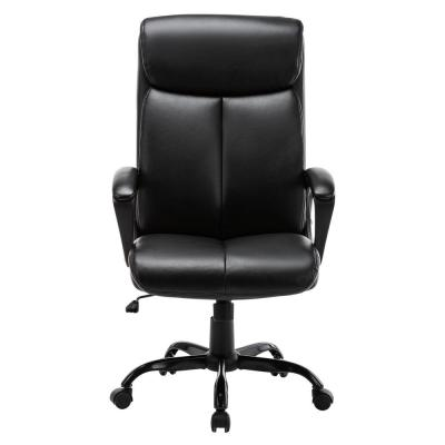 Black Executive Faux Leather Computer Desk Swivel Task Chair with Rolling Function