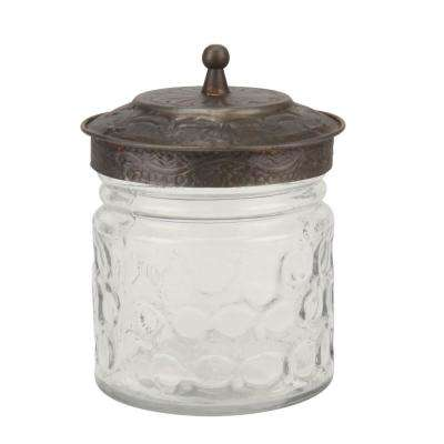 Clear Round Pressed Glass Container with Pewter Lid