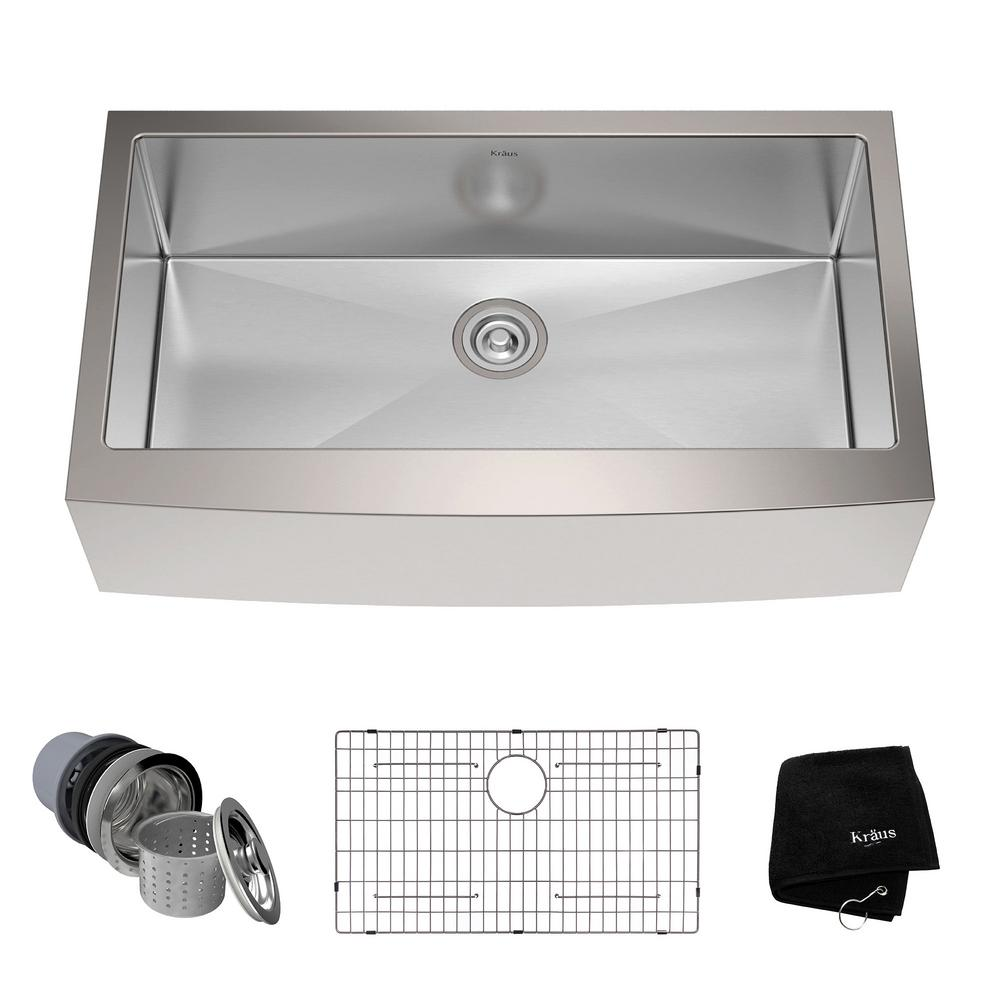 KRAUS Farmhouse Apron Front Stainless Steel 36 in. Single Bowl Kitchen Sink Kit