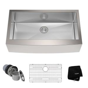 Kraus Farmhouse Apron Front Stainless Steel 36 inch Single Bowl Kitchen Sink Kit by KRAUS