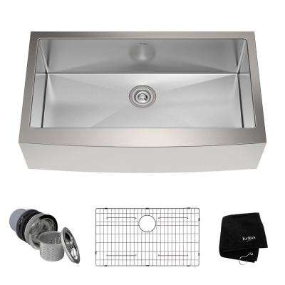 Farmhouse Apron Front Stainless Steel 36 in. Single Bowl Kitchen Sink Kit
