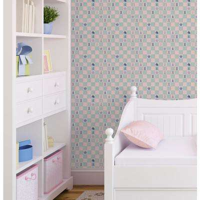 Baby Collection Chess in Pink and Teal Premium Matte Wallpaper