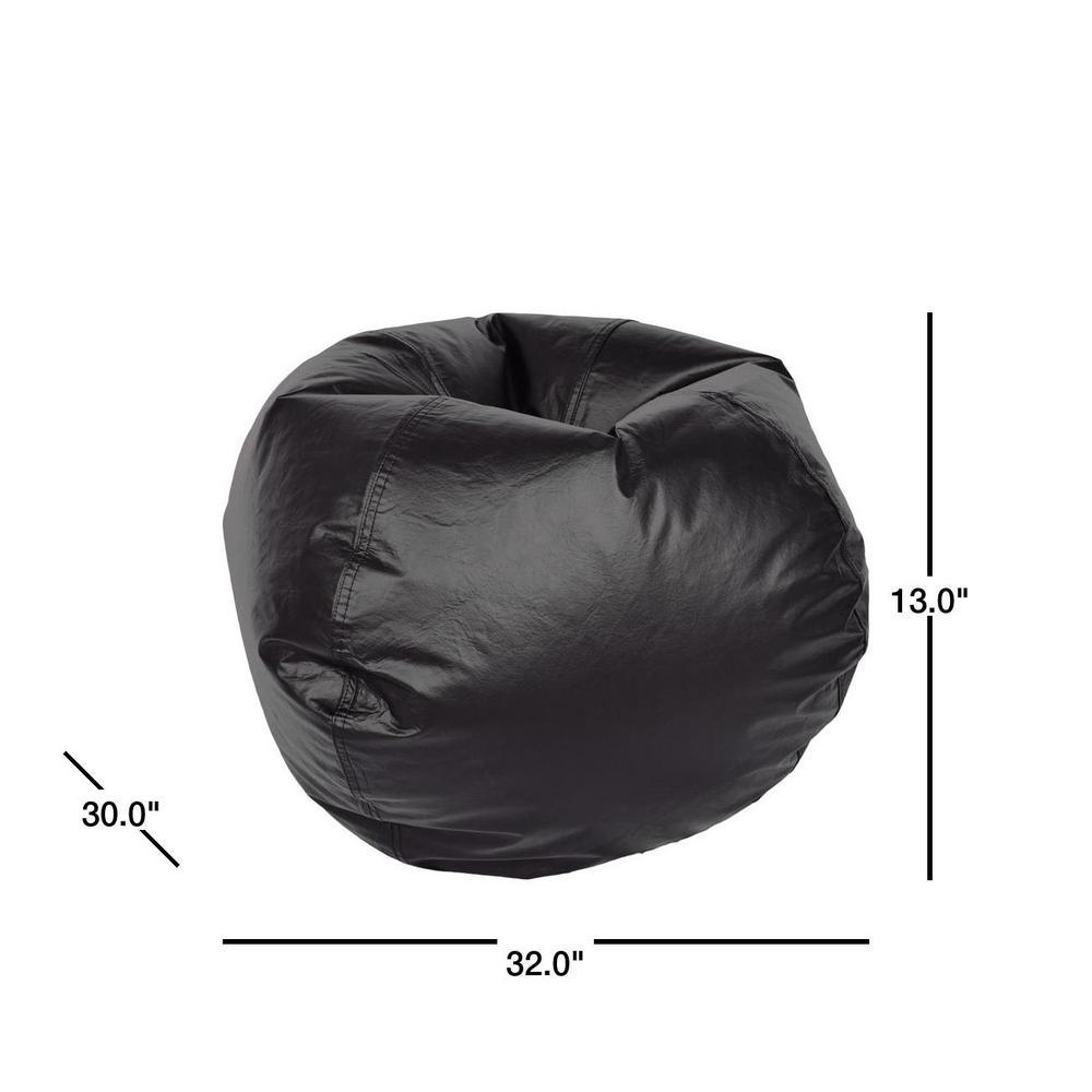 Ace Casual Furniture-Black Vinyl Bean Bag