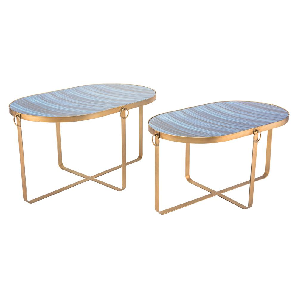 Good ZUO Zaphire Blue And Antique Gold Tables (Set Of 2)