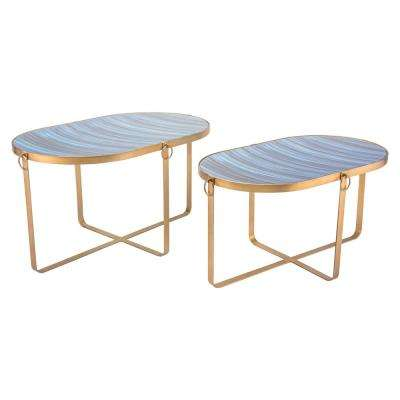 Zaphire Blue and Antique Gold Tables (Set of 2)
