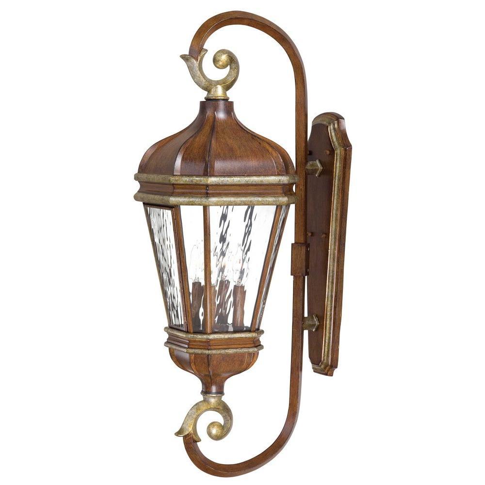 Minka Lavery Marietta Wall-Mount 4-Light Outdoor Mossoro Walnut Lantern