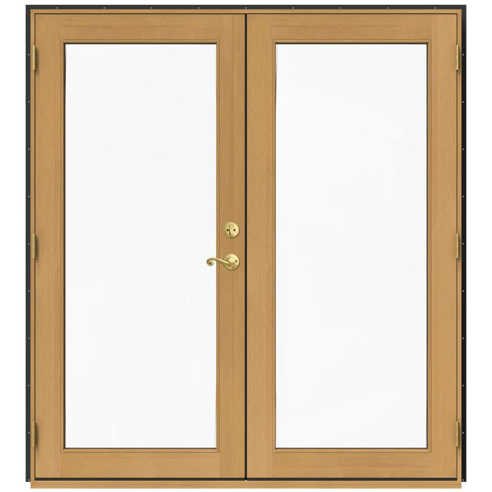 Jeld wen 71 5 in x 79 5 in w 2500 chestnut bronze right for Wood french patio doors