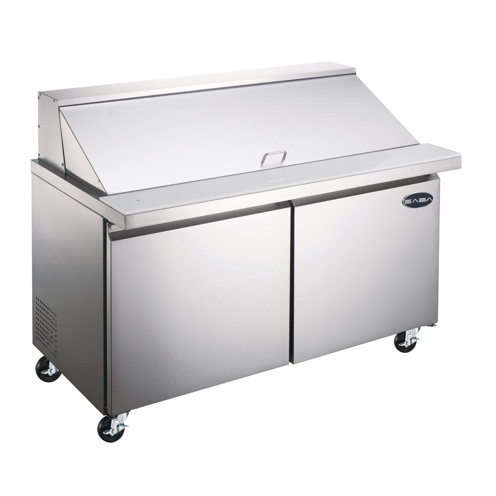 Incredible Saba 36 25 In W 7 8 Cu Ft Commercial Mega Food Prep Table Refrigerator Cooler In Stainless Steel Home Remodeling Inspirations Genioncuboardxyz