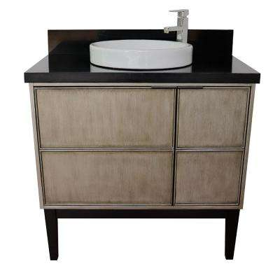 Scandi 37 in. W x 22 in. D Bath Vanity in Brown with Granite Vanity Top in Black with White Round Basin