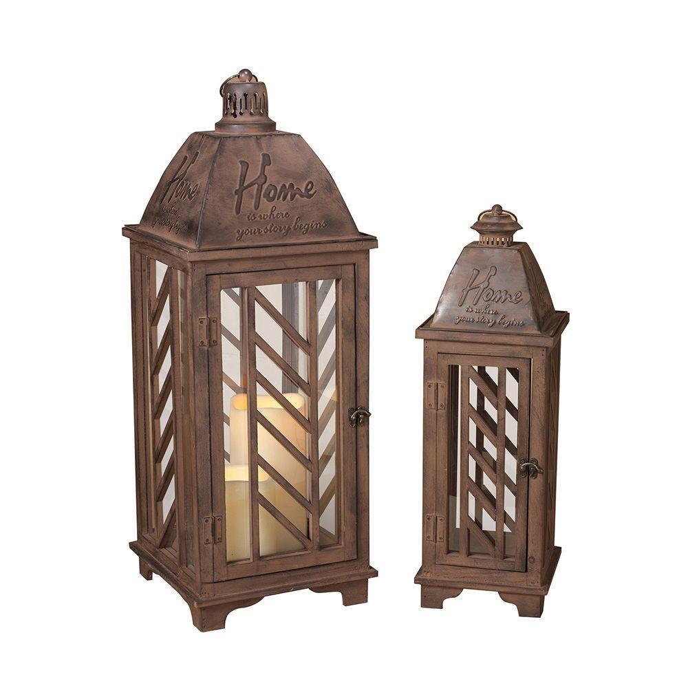Rustic Brown Metal Lantern (Set of 2)